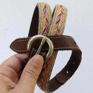 Accessories - Lleather western skinny belt straw woven